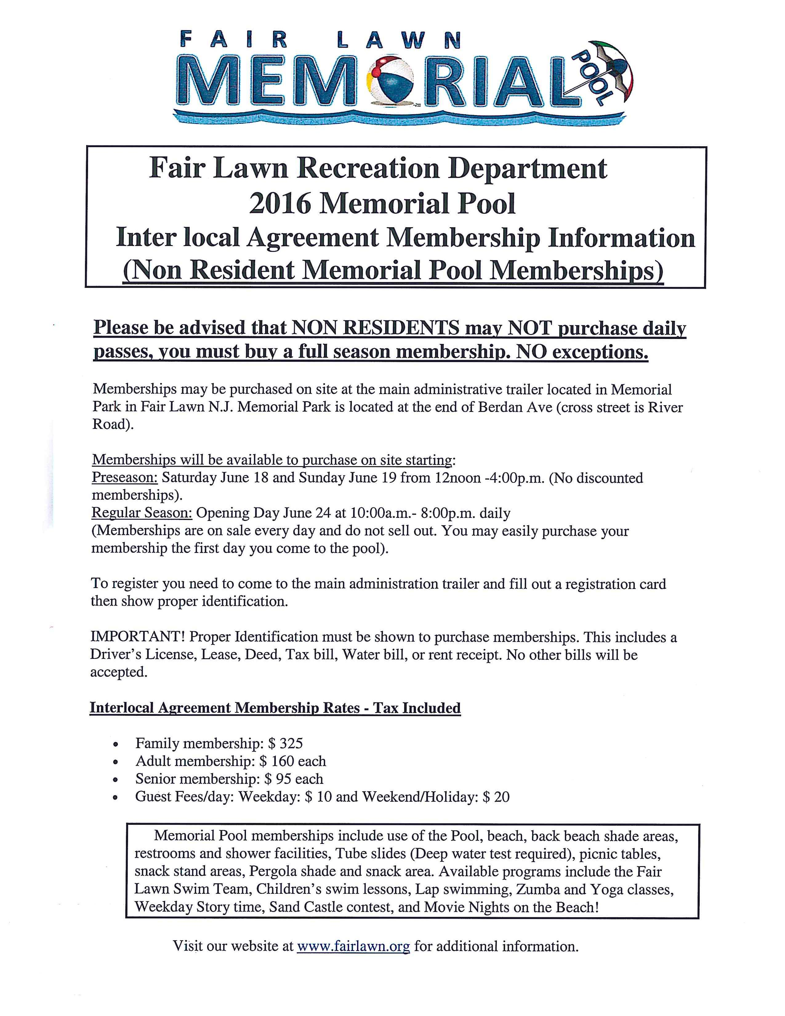 Memorial Pool Info Interlocal Agreements Township Of Saddle Brook